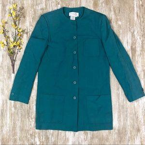 {Christian Dior} The Suit Teal Long Blazer Vintage